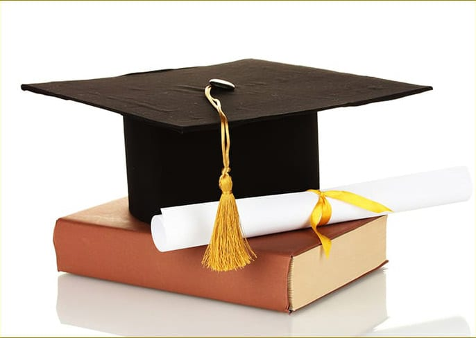 Graduation cap, diploma, and book